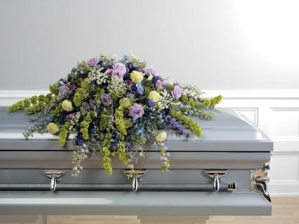 A Casket Spray/Roses,Bells of Ireland,Delphinium,