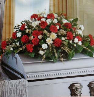 A Casket Spray/Carnations,Wax,Cushion Poms