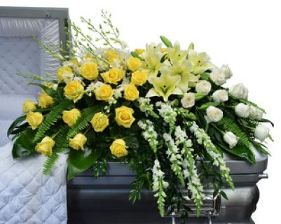 A Love Casket Spray/Lilies,Roses,Snaps