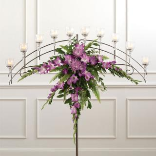 Basic Candelabra Arrangement/Glads,Fuji,Ferns