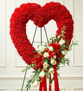 Red Open Heart/Carnations and white Roses