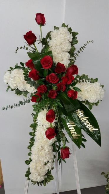 Beautiful Cross/White Carns and Red Roses