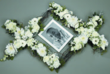 White Flowers Sympathy Tribute Frame/Calla Lillies,Roses,Carns
