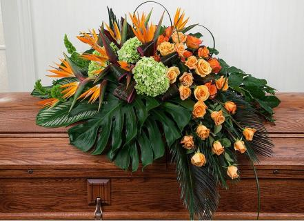Casket At Peace/Bird of Paradise,Roses,Hydrangea