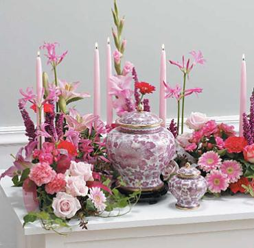 Pink Memorial Table with Candles/Roses,Lillies,Carns