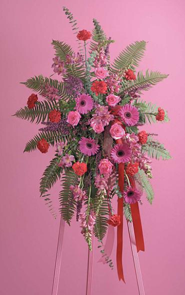 Fuschia and Red Standing Spray/Snaps,Gerbs,Carns,Roses,Alstro