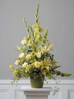 Yellow Mache Arrangement/Roses,Glads,Lillies,Hydrangea,Tulips