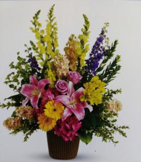 Glory Basket/Hydrangea,Roses,Lilly,Gerbera,Snaps