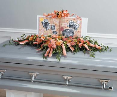 A Peach Casket Adornment/Carns,Roses,Hypericum