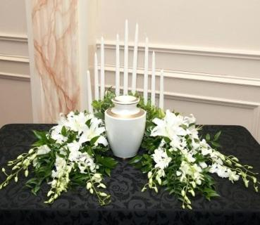 Urn Arrangement/Lilies,Orchids