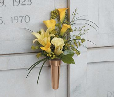 Yellow Memorial Urn/Calla Lilly,Rose,Lilly