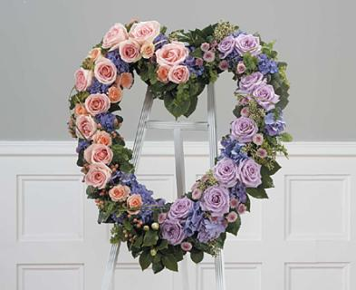 Lavender, Orange & Green Heart/Roses,Hydrangea,Buttons,Hypericum