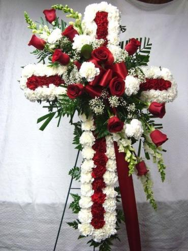 Standing Cross/Roses,Carnations,Baby Breath