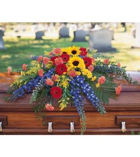 A Casket Spray/Delph,Gerbs,Sunflowers,Carnations