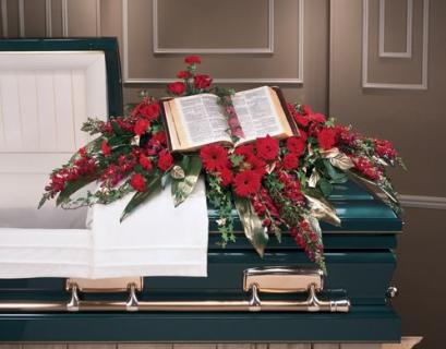 A Casket Spray/Snaps,Roses,Gerbs,,Carns, and Bible